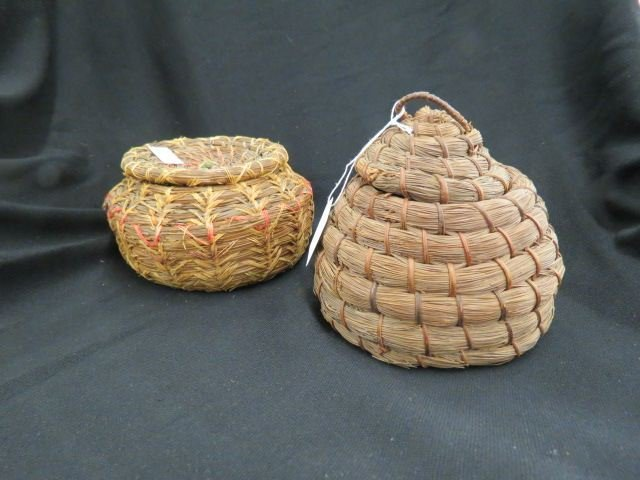 2 Pine Needle Covered Baskets,