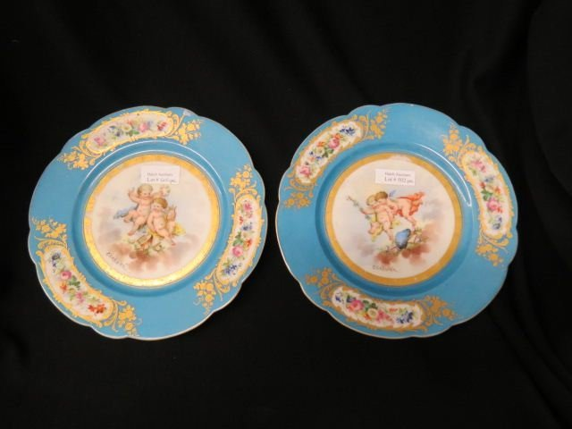 Pair of Sevres Porcelain Cabinet Plates,