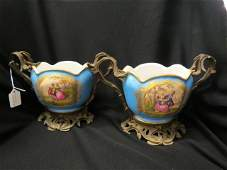 Pair of Sevres Porcelain  Ormoulu Vases