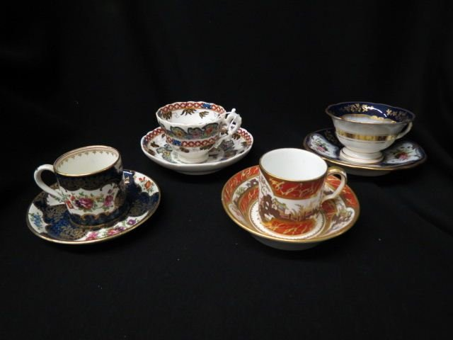4 Early Porcelain Cups & Saucers,