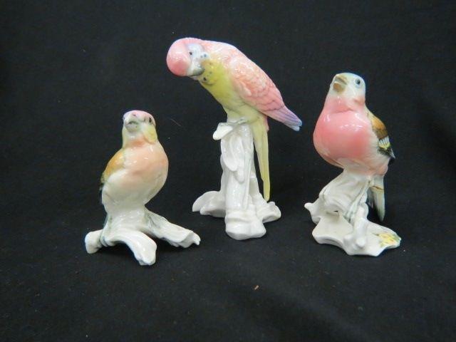 3 E.N.S. German Porcelain Bird Figurines,