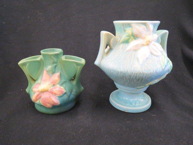 2 pcs. Roseville Clematis Art Pottery Vases,