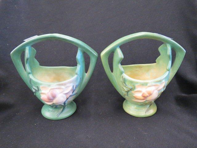 2 Roseville Magnolia Art Pottery Baskets,