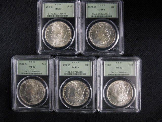 5 Morgan Silver Dollars,