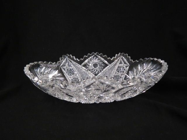 Cut Glass Oval Bowl or Celery Dish,