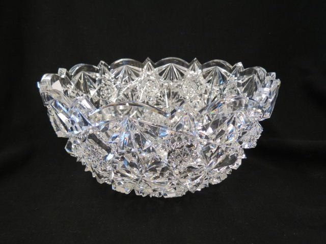 Cut Glass Bowl Signed Hawkes,