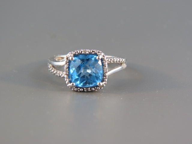Blue Topaz & Diamond Ring,