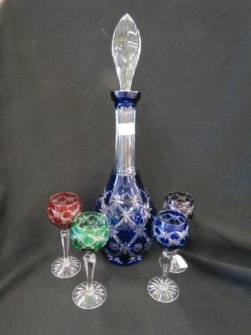 Cut-to-Clear Decanter with 4 cordials,