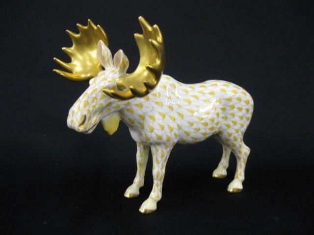 """Herend Porcelain """"Fishnet"""" Figurine of a Moose,"""