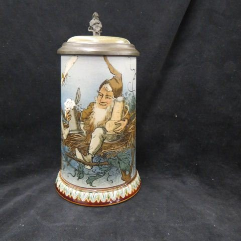Mettlach Etched Pottery Stein,