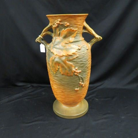 "Roseville ""Bushberry"" Art Pottery Floor Vase,"