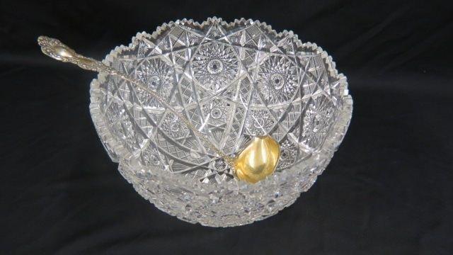 Cut Glass Punchbowl & Sterling Ladle,