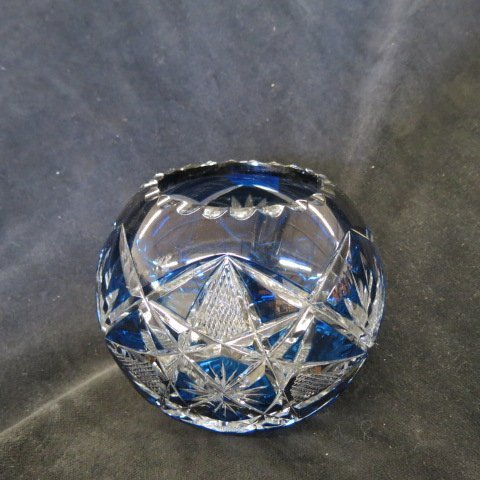 Sapphire Blue Cut-to-Clear Rose Bowl,