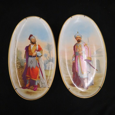 Pair of Painting on Porcelain Plaques,