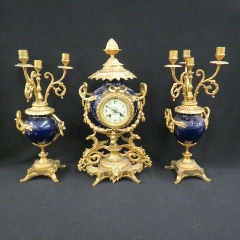 French Victorian Mantle Clock Set,