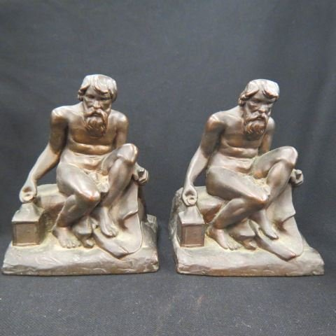 Pair of Figural Bronze Bookends,