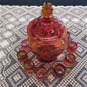Amberina Art Glass Punch Set,