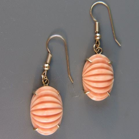 Carved Coral Earrings,