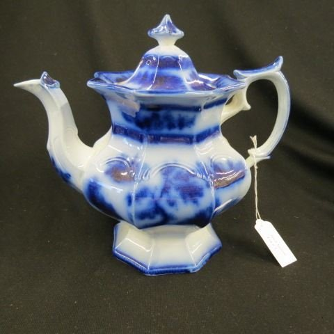 "Flow Blue Ironstone ""Chapoo"" Teapot,"