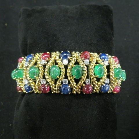 Ruby, Emerald, Sapphire & Diamond Bracelet,