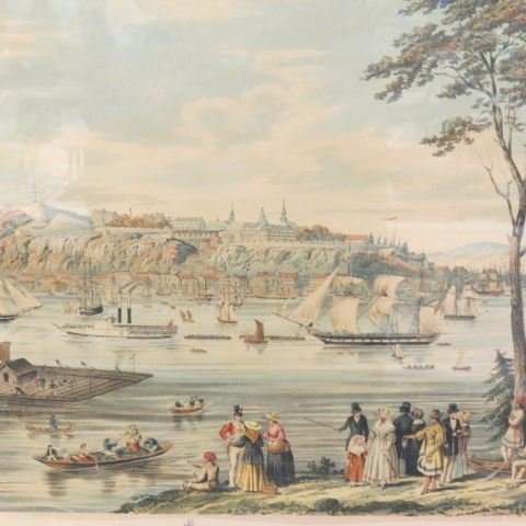 """Captain B. Beaufoy, lithograph """"View of Quebec"""", 1850 - 5"""