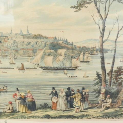 """Captain B. Beaufoy, lithograph """"View of Quebec"""", 1850 - 6"""