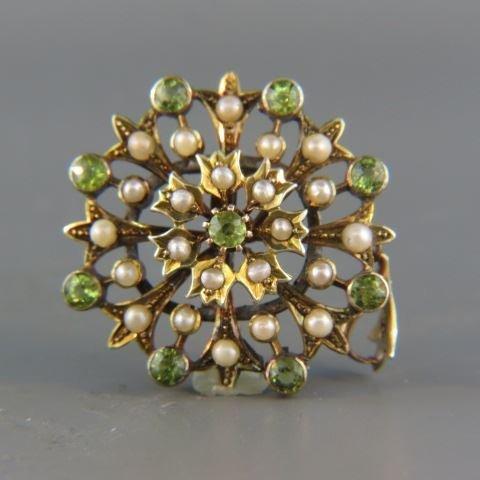 Peridot & Pearl Pendant or Brooch,