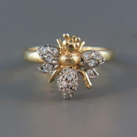 Diamond Figural Bee Ring,