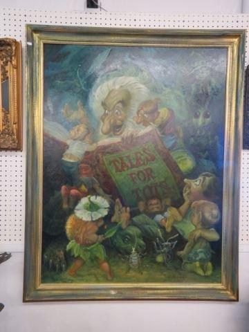 """Leland Beaman, oil, """"The Old Story Teller"""","""