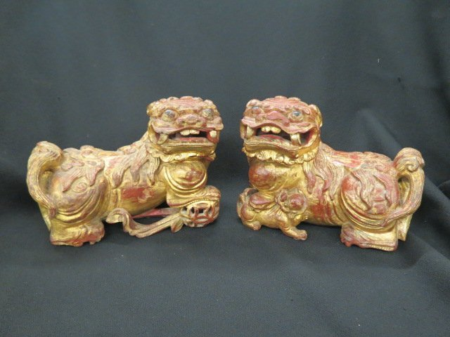 Pair of Chinese Carved Wood Foo Dog Figures,