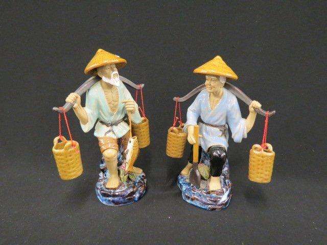 2 Chinese Mudman Figurines,