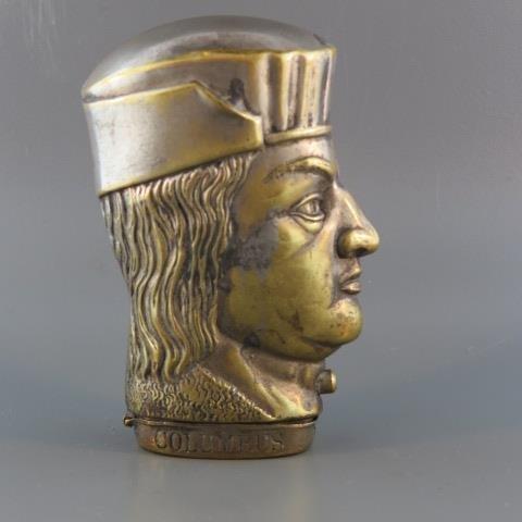 1892 Figural Brass Match Safe,