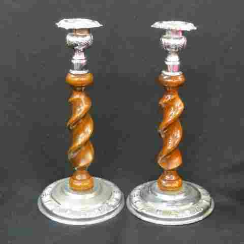 Pair of English Barley Twist Candlesticks,
