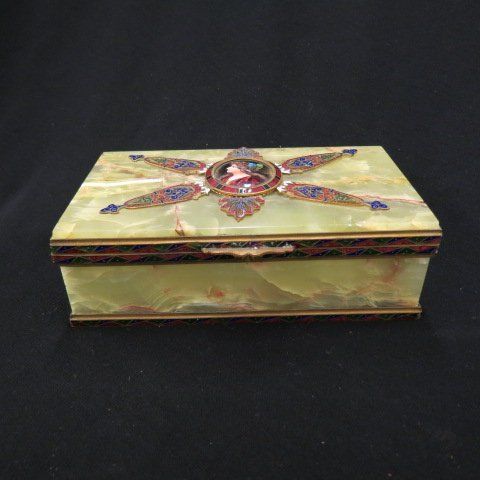 French Enamel and Onyx Dresser Box,