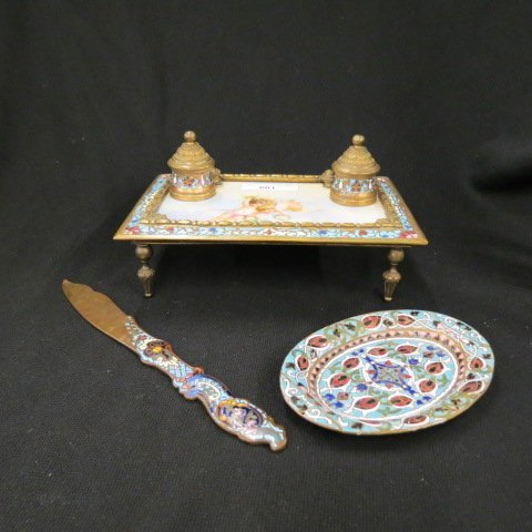 French Enamel and SevresPorcelain Inkstand,