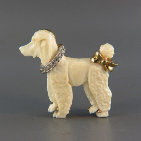 Carved Ivory Figural Poodle Brooch by Jomaz,
