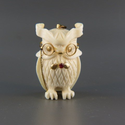 Carved Ivory and 14k Figural Owl Pendant,