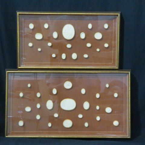 2 Frames of Grand Tour Plaster Medallions,