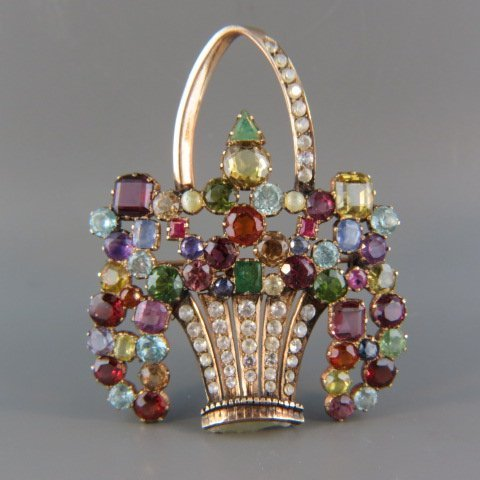 14k Gold Basket Gemstone Brooch,