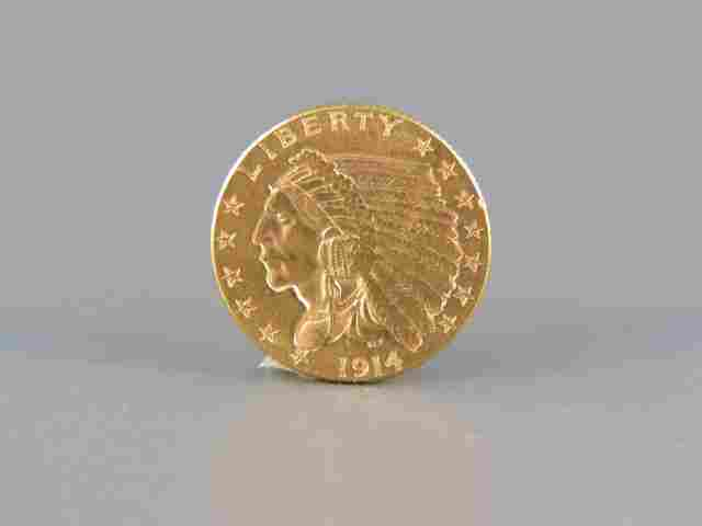 1914-D U.S. $2.50 Indian Head Gold Coin,