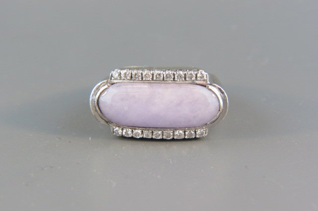 Lavander Jade & Diamond Ring,