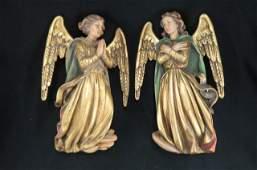 Pair of Anri Carved Wood Angels,