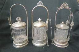 3 Victorian Silverplate Pickle Castors