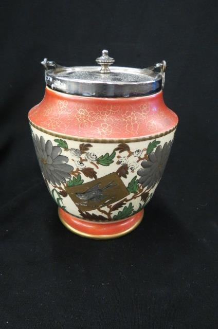 English Pottery Biscuit Jar,