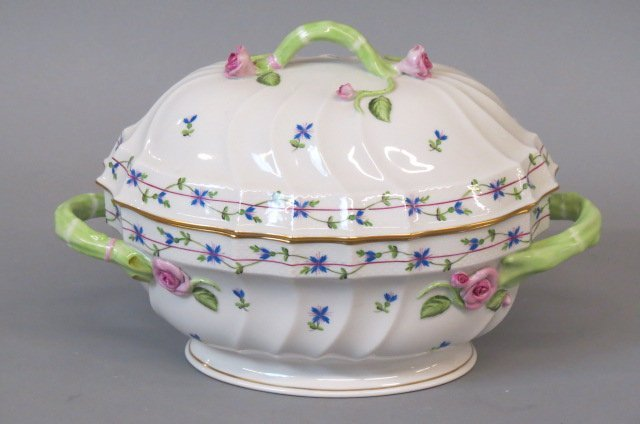"Herend ""Pintemps"" Porcelain Hand Painted Tureen,"
