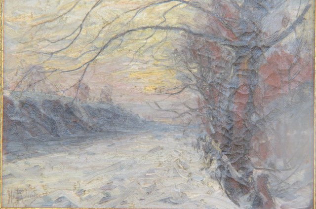 "Harry ""Hal"" Robinson Oil Painting Winter Landscape,"