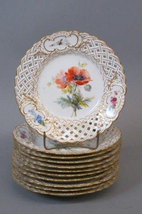 11 Meissen Porcelain Handpainted Plates,
