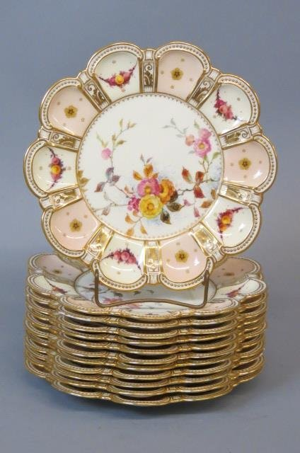12 Royal Crown Derby Porcelain Plates,