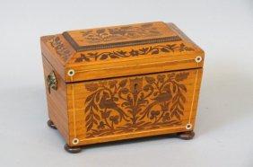 19th Century Inlaid Wood Tea Caddy Box,