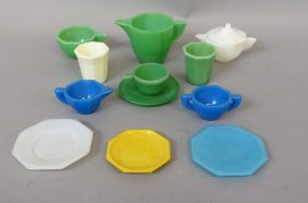 32 Pcs. Akro Agate Glass Child's Dishes,